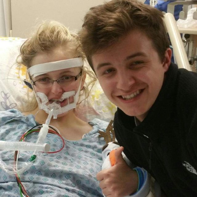 Meg with brother Evan says: One of the worst parts of having Stiff Person Syndrome in my opinion is losing the ability to spontaneously breathe on your own!