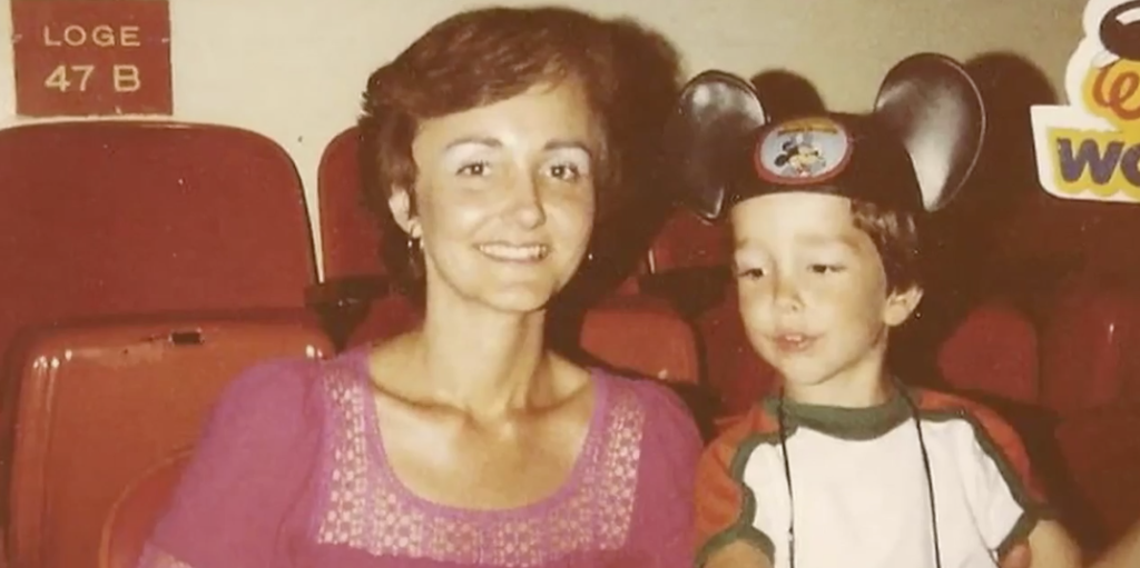 Future Dr Scott Newsome with his mother, a woman with Multiple Sclerosis